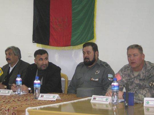 David Haight addresses to group Afghan governors and police chiefs in 2009 .jpg