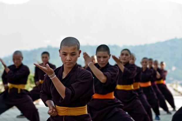 Kung Fu nuns at the Druk Gawa Khilwa Buddhist Nunnery, Druk Amitabha Mountain, Ramkot, near Kathmandu, Nepal