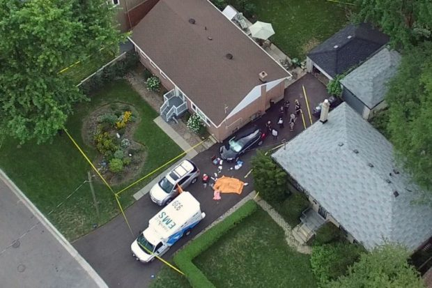Toronto paramedics and police at a home near Lawndale and Argo Rds where three people were killed4