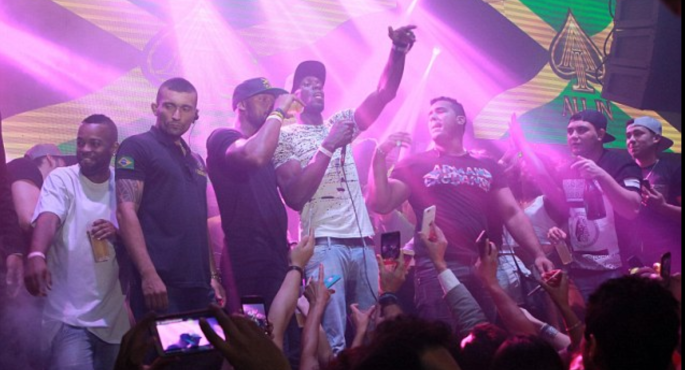 Usain Bolt on stage at the club during his birthday party