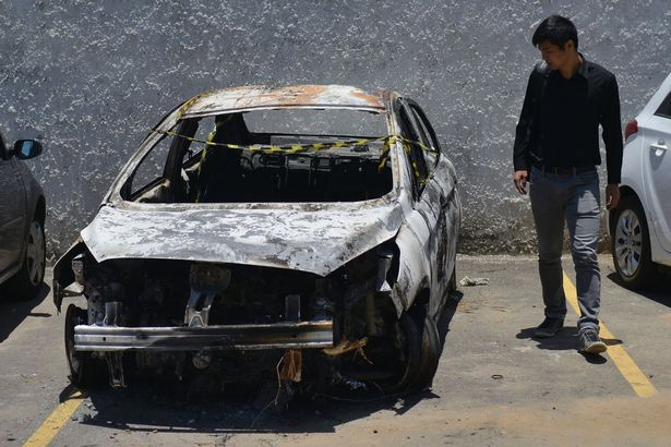 Burnt out rental car driven by missing Greek Ambassador, Kyriakos Amiridis when he disappeared2.jpg