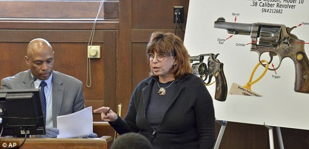 Defense attorney Linda Kenny Baden is seen again questioning a Boston police detective
