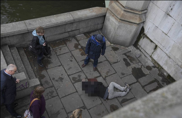 man is thought to have jumped or been knocked from Westminster Bridge and lay with terrible injuries next to the Thames