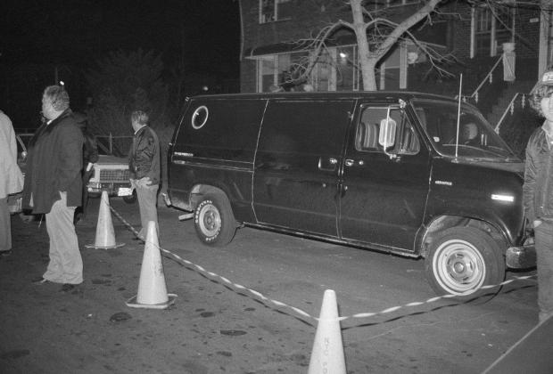 Police inspect the van used by the robbers in the 1978 JFK Luthansa heist1.jpg