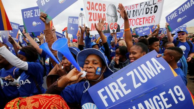 Demonstrators from the opposition Democratic Alliance in Johannesburg converged near the ANC headquarters