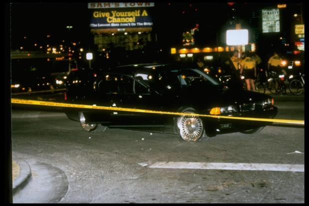Tupac's car after the brutal gun attack .jpg