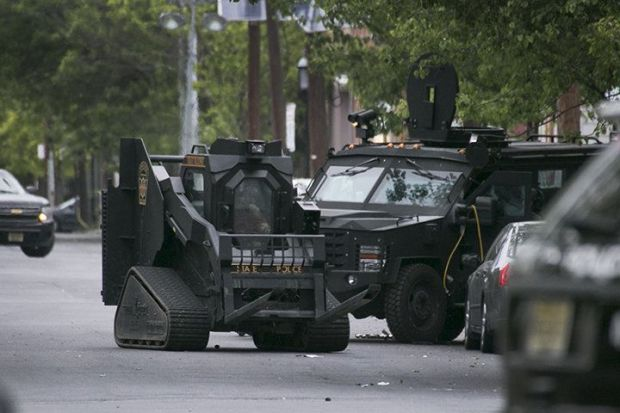Amoured trucks deployed during the standoff.jpg
