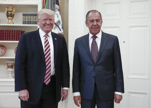 Donald Trump and Russian Foreign Minister Sergey Lavrov lat rthe Whitehouse May, 19.jpg