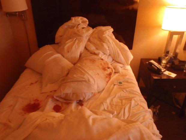Photos show the bloody mess the morning after.the assault