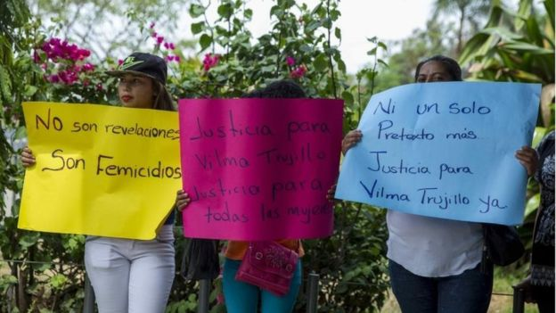 Protesters outside the court lheld signs calling for justice for Vilma Trujillo.jpg