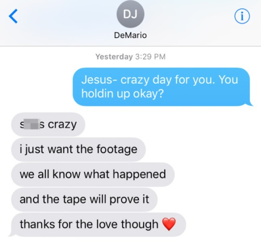 message from DeMario Jackson