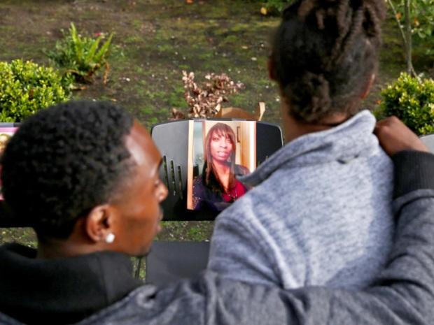 Morunera at a memorial for Charleena Lyles, [photo at center].jpg