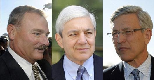 Penn VP Gary Schultz [left], President Graham Spanier [center], athletic director Tim Curley [right]1