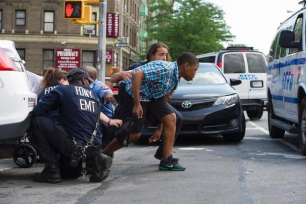 Police and staff take cover1