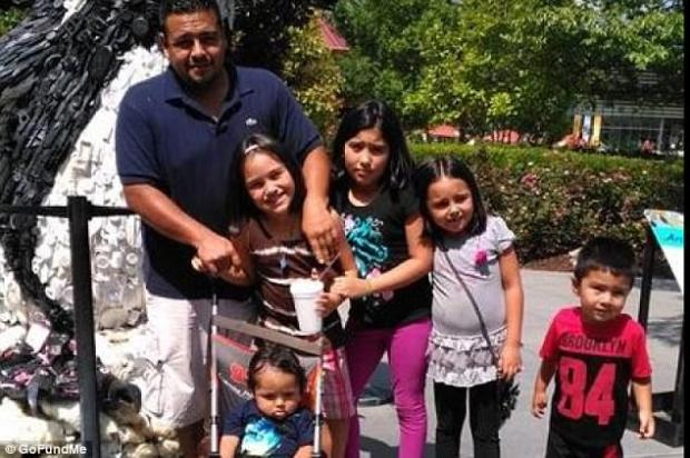 Martin Romero, 33, left, Diana Romero in front of Martin, survived. The other children, from left to right are: Axel Romero, [in the stroller], Isabela Martinez, Dacota Romero, and Dill