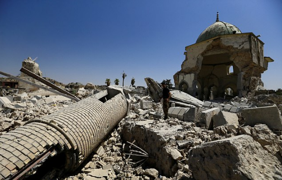 Ruis of Grand al-Nuri Mosque in the Old City of Mosul,, ISIS blew up the historic landmark just before they fled Mosul2