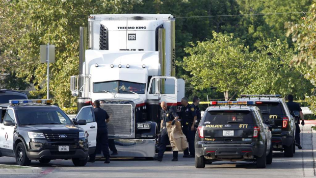 San Antonio cops found a trailer containing at least 38 people 8