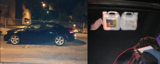 The crystal meth was in three white jugs labeled 'purple power', in the car 1.png