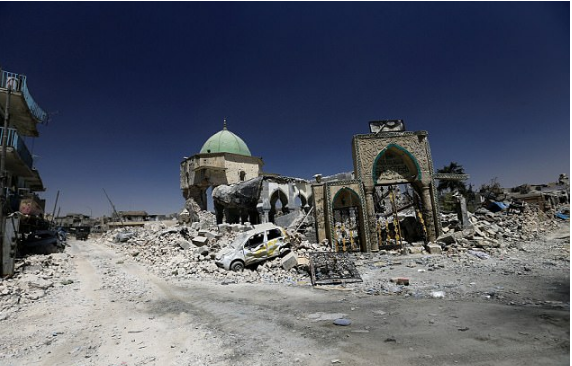 The ruins of the iconic Grand al-Nuri Mosque is seen in the Old City of Mosul, Iraq,