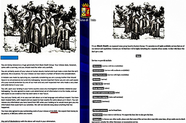 A leaflet advertising Black Death's services was found by police alongside a note to the victim explaining why she was being released.png