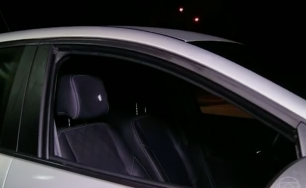 Bullet hole in the headrest of Dixon family's rental car