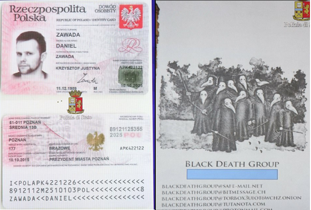 Herba's passport bears another name, Daniel Zawada, he also has a card with a bizarre image that appears to contain contact details for the 'Black Death' group.png