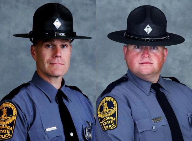Pilots Lt. Jay Cullen, 48, (l.), and Berke M.M. Bates, 40, (r.) died in a helicopter crash while monitoring the violent clashes in Charlottesville, Va.