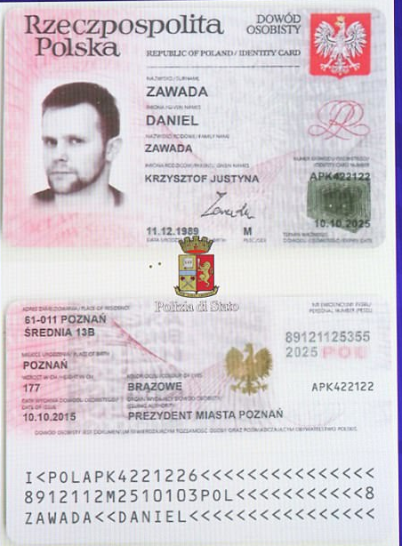 Police also released an image of Herba's passport in which he went by another name, Daniel Zawada, as well as a card with a bizarre image that appears to contain contact details for the
