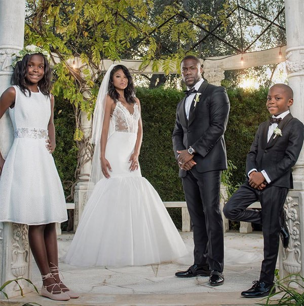 Eniko Parrish & Kevin Hart and his children with ex wife Torei at their 2016 wedding.jpg